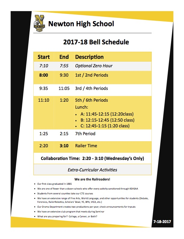 2017-18 NHS Bell Schedule